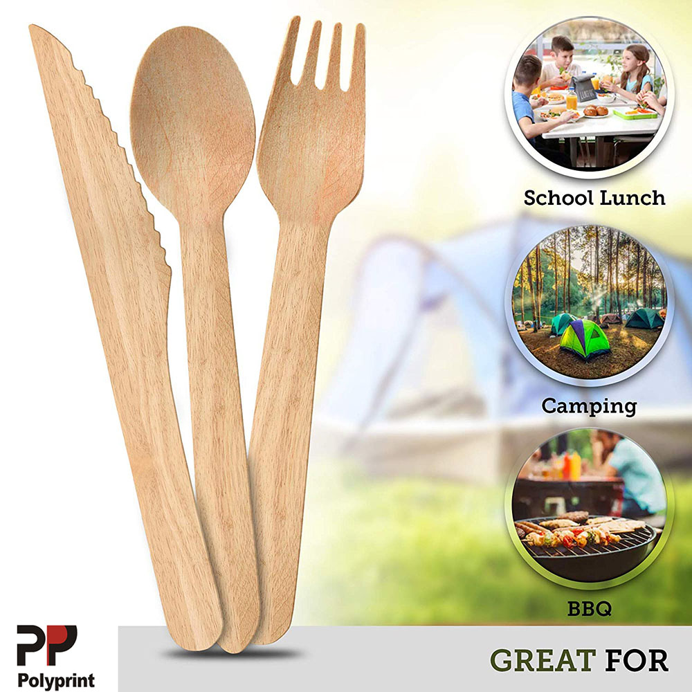 Environmental Birch Wood Made Spoon Fork Knife